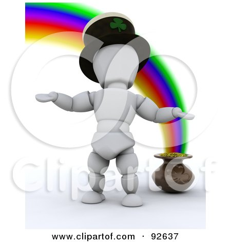 Royalty-Free (RF) Clipart Illustration of a 3d White Character With A Pot Of Gold At The End Of A Rainbow by KJ Pargeter