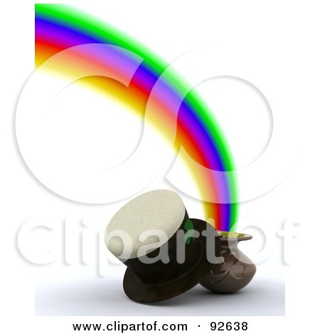Royalty-Free (RF) Clipart Illustration of a 3d Hat With A Pot Of Gold At The End Of A Rainbow by KJ Pargeter