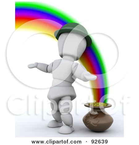 Royalty-Free (RF) Clipart Illustration of a 3d White Character Standing By A Pot Of Gold At The End Of A Rainbow by KJ Pargeter