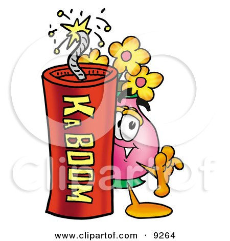 Clipart Picture of a Vase of Flowers Mascot Cartoon Character Standing With a Lit Stick of Dynamite by Toons4Biz
