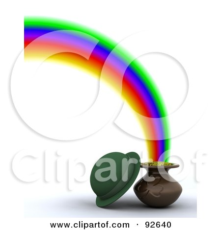 Royalty-Free (RF) Clipart Illustration of a Green 3d Hat With A Pot Of Gold At The End Of A Rainbow by KJ Pargeter