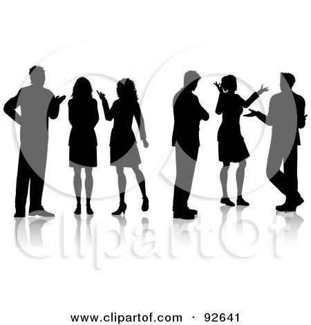 Royalty-Free (RF) Clipart Illustration of Black Silhouetted Business People Talking by KJ Pargeter