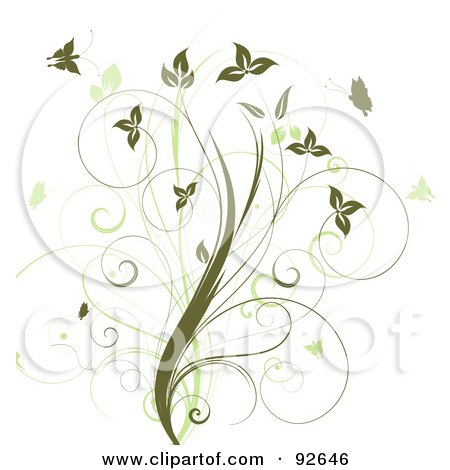Royalty-Free (RF) Clipart Illustration of a Floral Design Element Of A Vine With Green Butterflies On White by KJ Pargeter