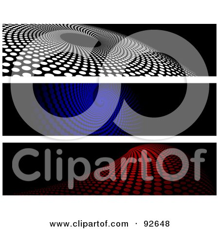 Royalty-Free (RF) Clipart Illustration of a Digital Collage Of White, Blue And Red Halftone Website Headers by KJ Pargeter