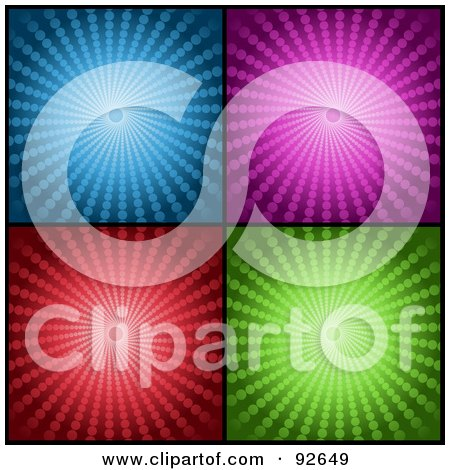Royalty-Free (RF) Clipart Illustration of a Digital Collage Of Four Blue, Purple, Red And Green Halftone Vortex Backgrounds by KJ Pargeter