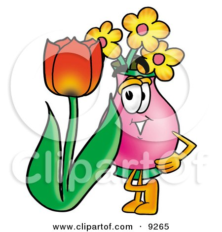 Clipart Picture of a Vase of Flowers Mascot Cartoon Character With a Red Tulip Flower in the Spring by Toons4Biz