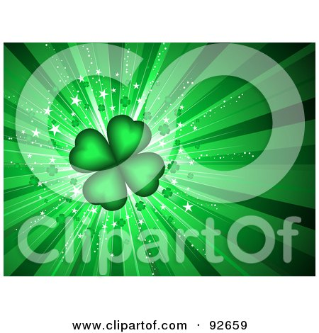 Green Four Leaf Clover Background Posters, Art Prints