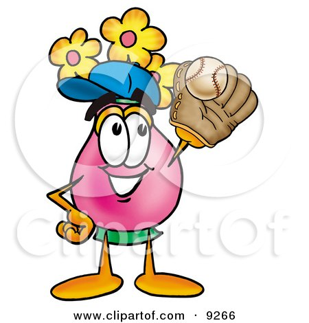 Clipart Picture of a Vase of Flowers Mascot Cartoon Character Catching a Baseball With a Glove by Toons4Biz