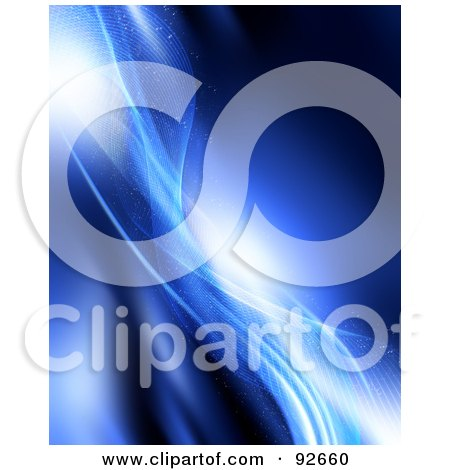 Royalty-Free (RF) Clipart Illustration of a Background Of Sparkling Blue Mesh Waves by KJ Pargeter