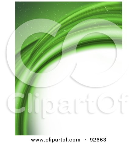 Royalty-Free (RF) Clipart Illustration of a Background Of Curving Sparkly Green Abstract Waves Over White by KJ Pargeter