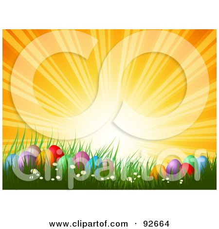 Royalty-Free (RF) Clipart Illustration of an Orange Sunset Over Colorful Easter Eggs In Spring Grass by KJ Pargeter