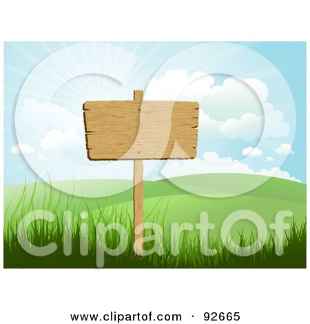 Royalty-Free (RF) Clipart Illustration of a Blank Wooden Sign Posted In A Hilly Landscape Under A Sunny Sky by KJ Pargeter