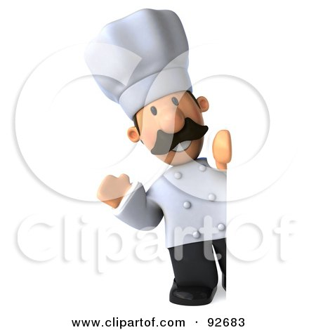 Royalty-Free (RF) Clipart Illustration of a 3d Chef Man With A Blank Sign - 2 by Julos