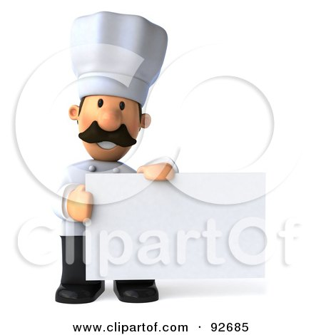 Royalty-Free (RF) Clipart Illustration of a 3d Chef Man With A Blank Sign - 4 by Julos