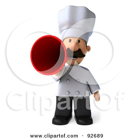 Royalty-Free (RF) Clipart Illustration of a 3d Chef Man Announcing - 1 by Julos
