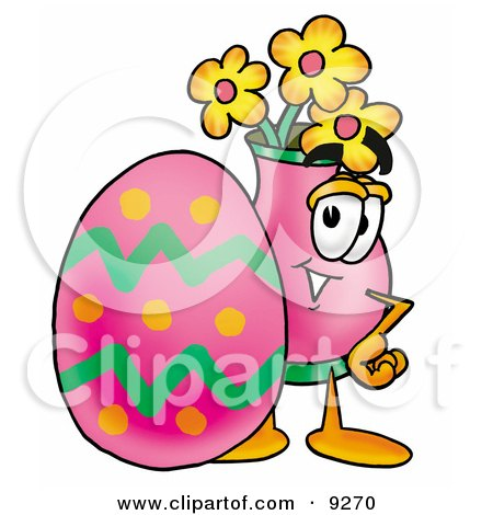Clipart Picture of a Vase of Flowers Mascot Cartoon Character Standing Beside an Easter Egg by Toons4Biz