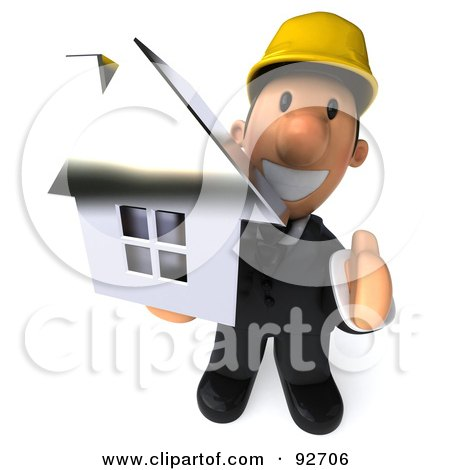 Royalty-Free (RF) Clipart Illustration of a 3d Male Architect Guy Holding A House, His Hand Out by Julos