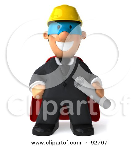 Royalty-Free (RF) Clipart Illustration of a 3d Male Super Architect Guy Holding Blueprints by Julos