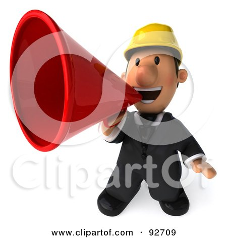 Royalty-Free (RF) Clipart Illustration of a 3d Male Architect Guy Announcing by Julos