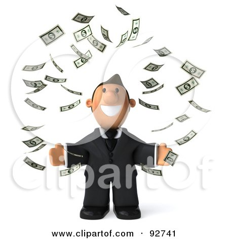 Royalty-Free (RF) Clipart Illustration of a 3d Business Toon Guy Surrounded By Falling Money - 1 by Julos