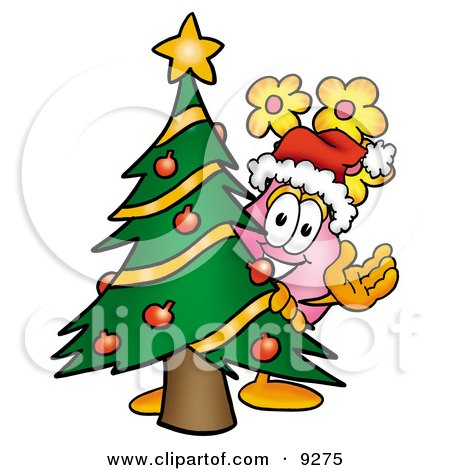 Clipart Picture of a Vase of Flowers Mascot Cartoon Character Waving and Standing by a Decorated Christmas Tree by Toons4Biz