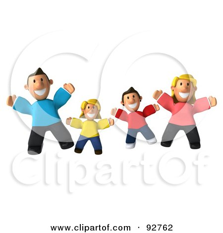 Royalty-Free (RF) Clipart Illustration of a 3d Happy Caucasian Family Jumping by Julos