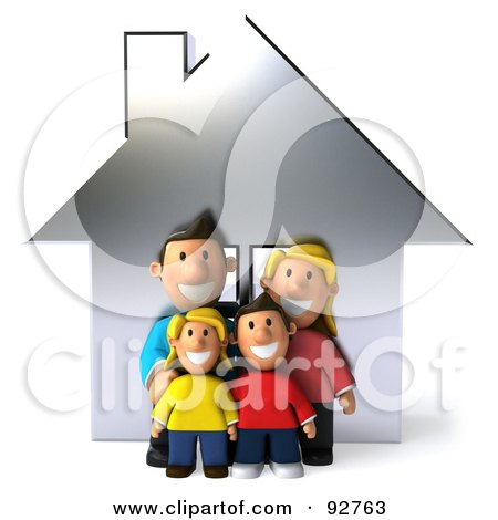 Royalty-Free (RF) Clipart Illustration of a 3d Happy Caucasian Family With A House - 1 by Julos