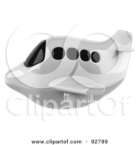 Royalty-Free (RF) Clipart Illustration of a 3d White Airliner With Tinted Windows, Flying Left by Julos