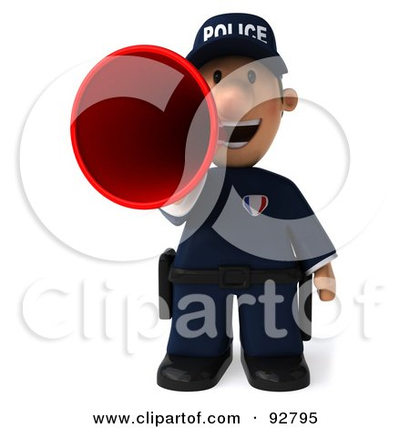 Royalty-Free (RF) Clipart Illustration of a 3d Police Toon Guy Announcing - 3 by Julos