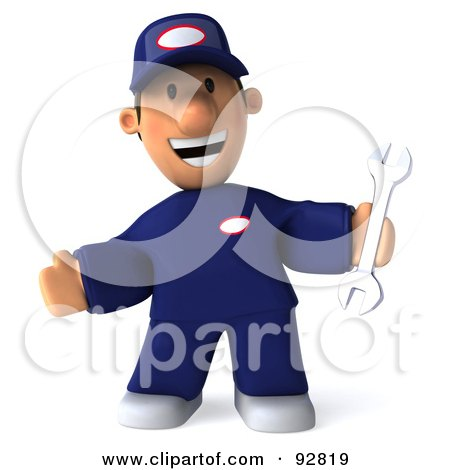 Royalty-Free (RF) Clipart Illustration of a 3d Toon Guy Auto Mechanic Holding A Wrench by Julos