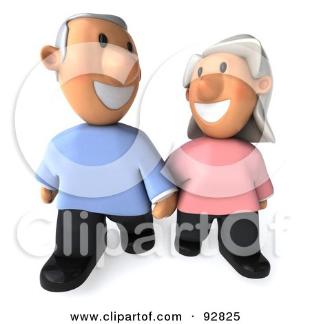Royalty-Free (RF) Clipart Illustration of a 3d Senior Couple Together - 2 by Julos