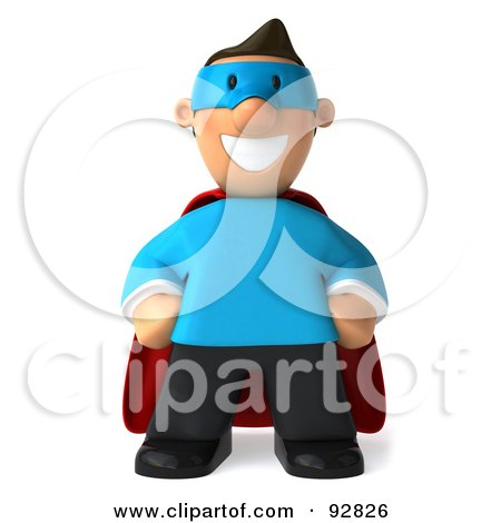 Royalty-Free (RF) Clipart Illustration of a 3d Business Toon Guy Super Hero - 1 by Julos