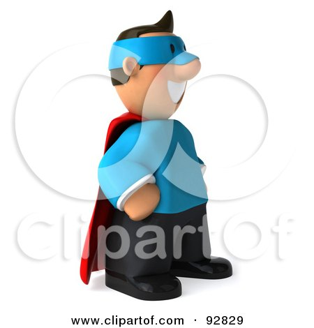 Royalty-Free (RF) Clipart Illustration of a 3d Business Toon Guy Super Hero - 2 by Julos