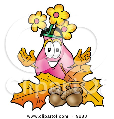 Clipart Picture of a Vase of Flowers Mascot Cartoon Character With Autumn Leaves and Acorns in the Fall by Toons4Biz