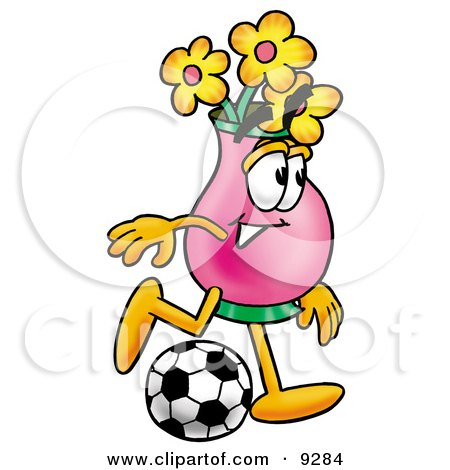 Clipart Picture of a Vase of Flowers Mascot Cartoon Character Kicking a Soccer Ball by Toons4Biz