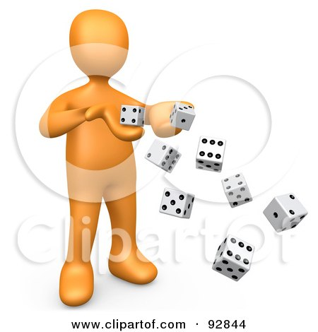 Royalty-Free (RF) Clipart Illustration of a 3d Orange Person Tossing Many Dice, Symbolizing Chance And Risk by 3poD