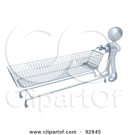 Royalty-Free (RF) Clipart Illustration of a 3d Silver Person Pushing A Very Long Shopping Cart In A Store by 3poD