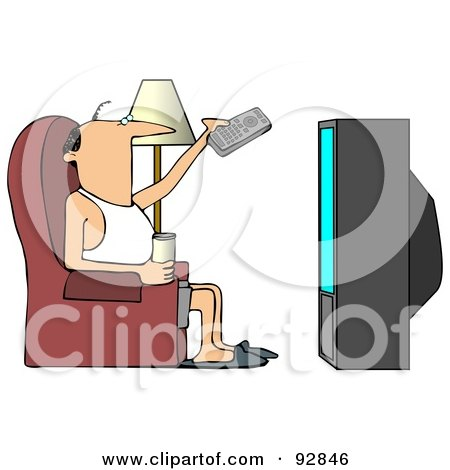 Slim Man Sitting On A Chair With A Canned Beverage, Pointing A Remote To A Television Posters, Art Prints