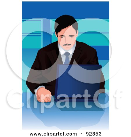 Royalty-Free (RF) Clipart Illustration of a Business Man Using A Laptop - 1 by mayawizard101