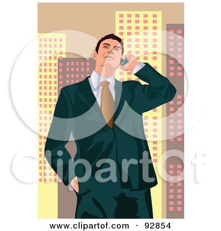 Royalty-Free (RF) Clipart Illustration of a Business Man Having A Conversation On A Cell Phone - 4 by mayawizard101
