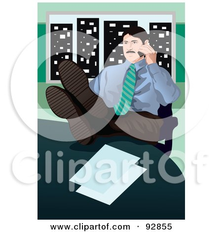 Royalty-Free (RF) Clipart Illustration of a Business Man Having A Conversation On A Cell Phone - 5 by mayawizard101