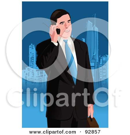 Royalty-Free (RF) Clipart Illustration of a Business Man Having A Conversation On A Cell Phone - 2 by mayawizard101