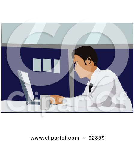 Royalty-Free (RF) Clipart Illustration of a Business Man Using A Laptop - 3 by mayawizard101