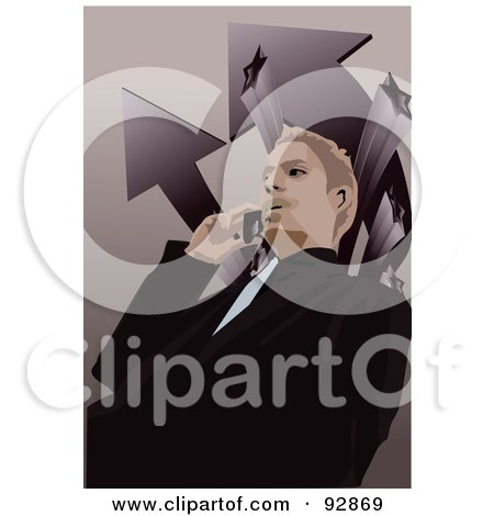 Royalty-Free (RF) Clipart Illustration of a Business Man Having A Conversation On A Cell Phone - 6 by mayawizard101