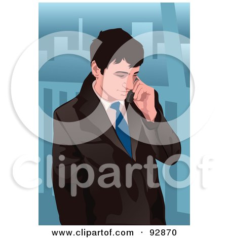 Royalty-Free (RF) Clipart Illustration of a Business Man Having A Conversation On A Cell Phone - 1 by mayawizard101