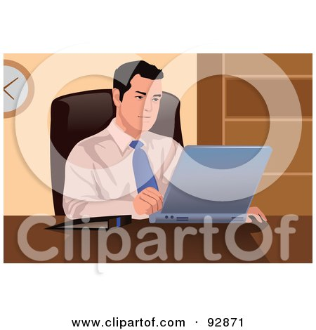 Royalty-Free (RF) Clipart Illustration of a Business Man Using A Laptop - 2 by mayawizard101