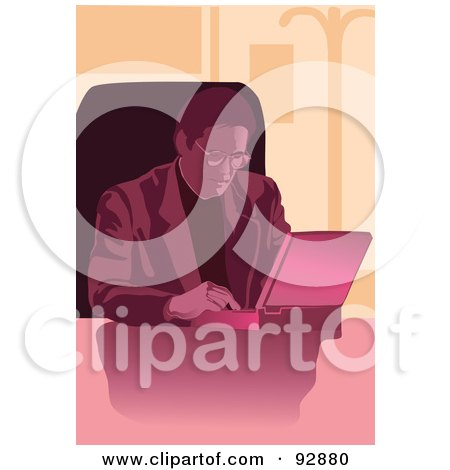 Royalty-Free (RF) Clipart Illustration of a Pink Businessman Using A Laptop by mayawizard101