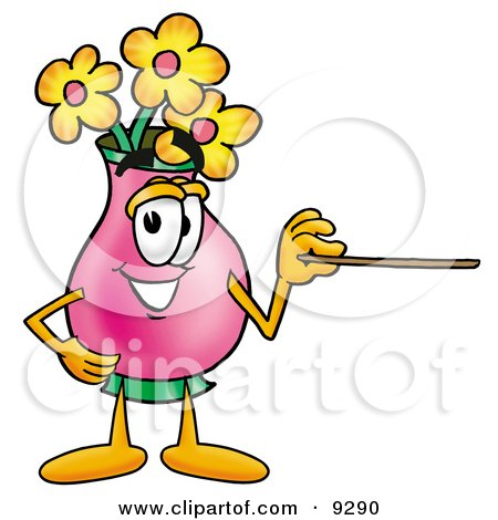Clipart Picture of a Vase of Flowers Mascot Cartoon Character Holding a Pointer Stick by Toons4Biz