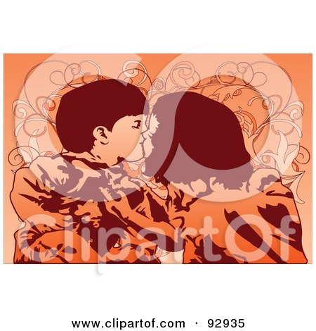 Royalty-Free (RF) Clipart Illustration of Two Kids Kissing by mayawizard101