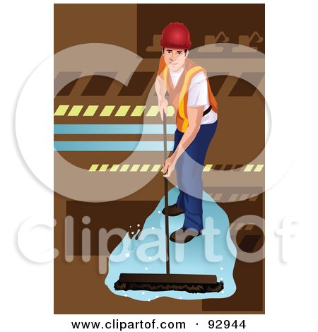 Royalty-Free (RF) Clipart Illustration of a Worker Using A Push Broom To Clean A Floor by mayawizard101